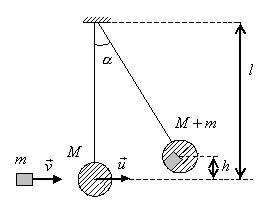 Деревянный шар массы лежит на кольце штатива снизу в шар попадает пуля